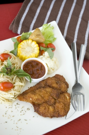 fried chicken set serve on white plate photo