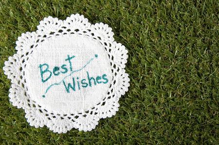 best wishes: best wishes words on green grass