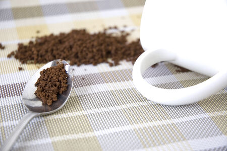 close up instant coffee in spoon