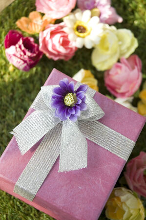 pink gift box on green grass with flowers background photo