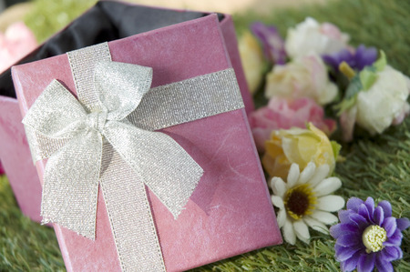 close up open pink gift box on grass
