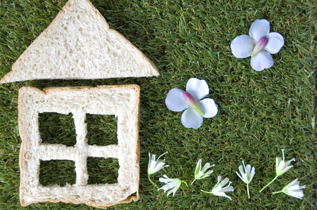 bread cut in house shape with garden flowers photo