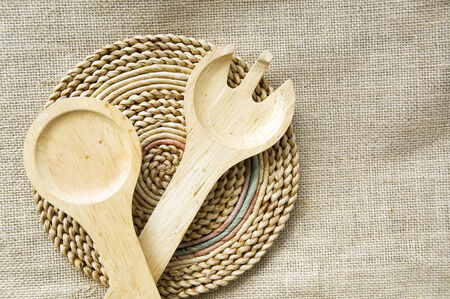 wooden spoon and fork in natural style photo