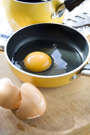 close up yolk in yellow pan at kitchen