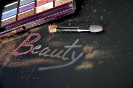 close up words beauty made from eyeshadow photo