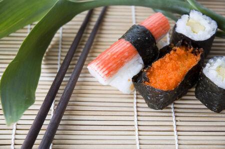 close up food: close up japanese food with chopsticks