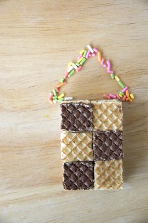 chocolate wafers and sweet sugar house photo