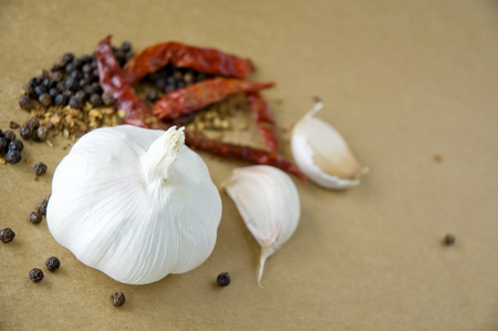 garlic with dried chilies and black pepper photo