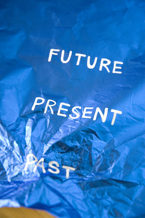 destroy the past wording on blue background photo