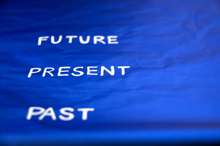 focus on present word between past and future photo