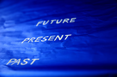 living moment: timing wording on blue background Stock Photo