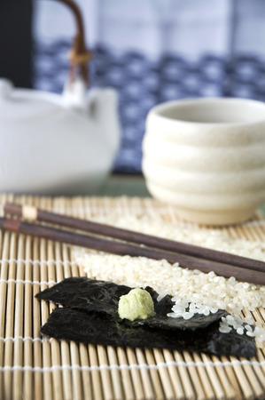 japanese cuisine with ingredients prepare to cook photo