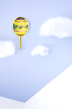 float cotton cloud: paper cut balloon in the sky with cotton cloud background