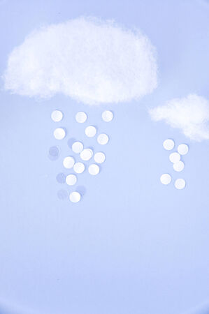 float cotton cloud: cotton and paper cut in cloud and snow shape Stock Photo