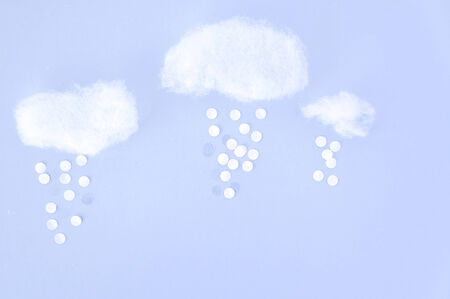 float cotton cloud: cotton and paper cut in cloudy concept Stock Photo