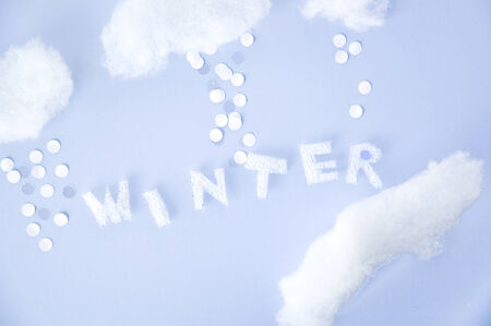 float cotton cloud: cute paper cut in winter concept Stock Photo