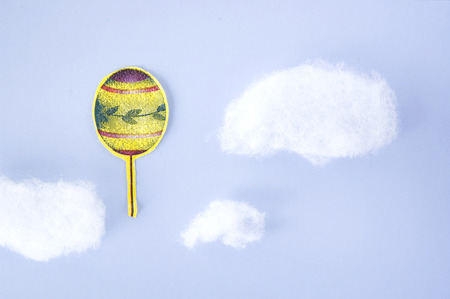 float cotton cloud: paper cut balloon up to sky with cloud background