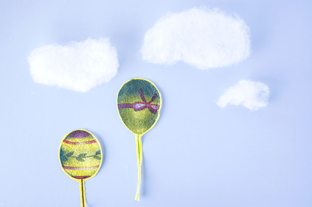 float cotton cloud: paper cut balloons up in to sky