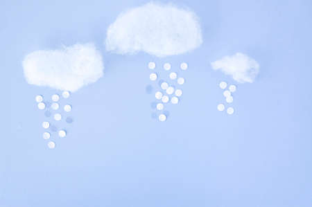 float cotton cloud: cotton and paper cut created in cloudy with snow concept