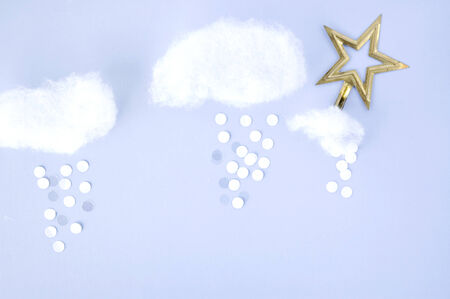 float cotton cloud: star in the sky background with cloud and snow