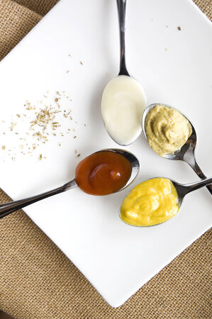 variety condiments on spoon put on white plate photo