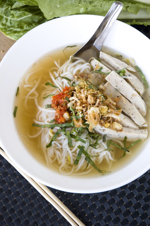 close up pho noodle vietnamese food in white bowl Stock Photo