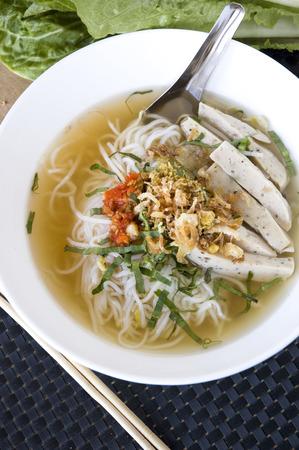 close up pho noodle vietnamese food in white bowl Reklamní fotografie