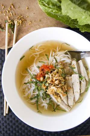 vietnamese food pho noodle in white bowl Stock Photo - 35532343