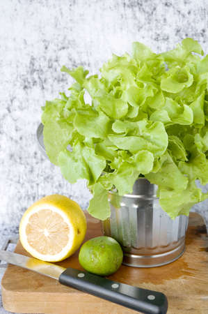fresh lettuce in silver bin with lemon and lime on cutting board photo