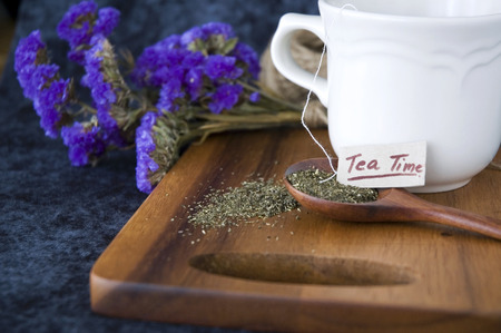 tea time tag on tea spoon photo