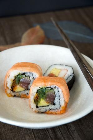 sushi japanese food on white dish Stock Photo