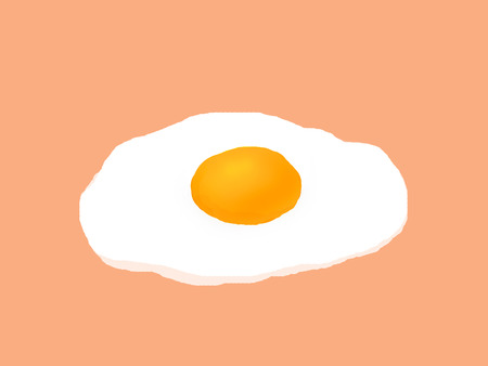 fried: fried egg drawing on color background