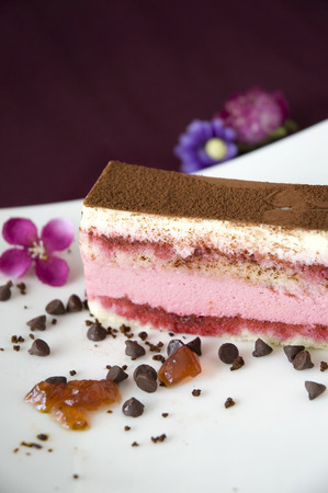 layer cake: berries yogurt layer cake decorated with chocolate on white plate Stock Photo