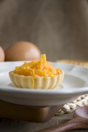 sweet tart: close up mini sweet tart on white dish