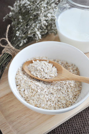 oatmeal bowl: close up oatmeal bowl on wooden spoon
