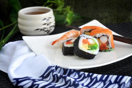 serve: sushi japanese food serve on white plate Stock Photo
