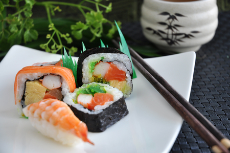 colorful: various sushi japanese food on white plate Stock Photo