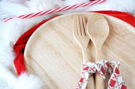 holiday meal: wooden utensils ready for holiday meal