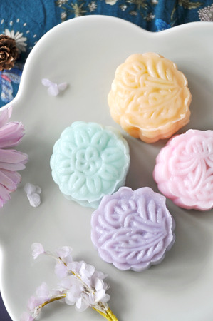 Above of colorful snow skin mooncake dish
