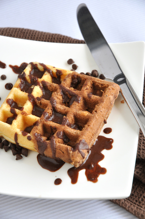 two tone: Two tone waffle with chocolate sauce on white plate Stock Photo