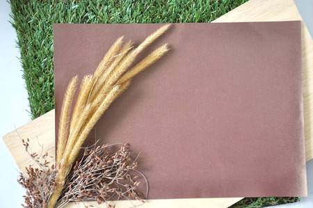 dried flower arrangement: Blank paper for text decorate with dried flowers put on wooden and grass Stock Photo