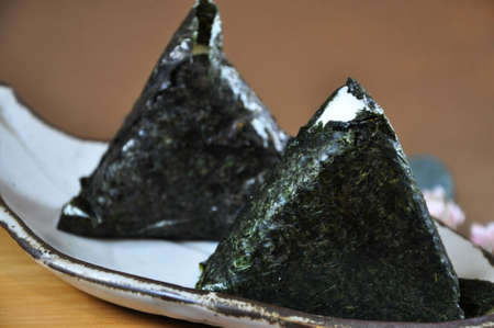 Close up Onigiri Japanese food on white plate