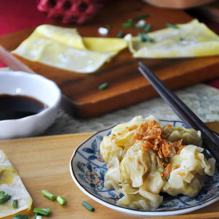 Close up delicious pork wanton on dish image in square size