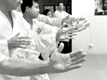 PHUKET TOWN, PHUKET, THAILAND, 3 MARCH 2014: Students of Aikido stand in ready position as they begin a promotion test in their dojang. 報道画像