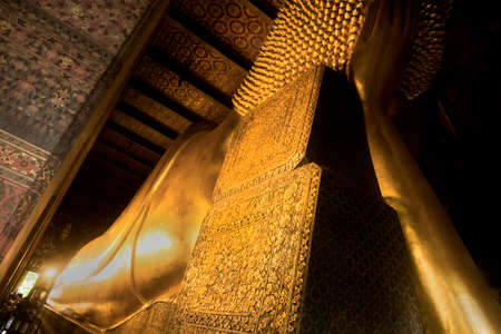 WAT PHO, BANGKOK, THAILAND, 26 SEPTEMBER 2014: Rear horizontal shot underneath Wat Pho\