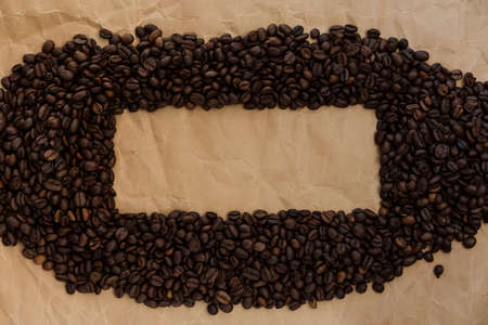 coffee beans are laid out on old paper with a place for a logo, a font