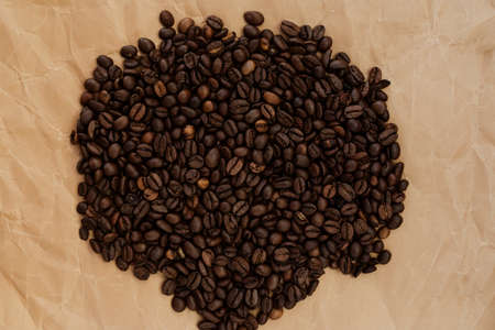 many grains of roasted coffee, texture, background for text, for logo