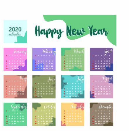 colorful calendar 2020 with abstract background Vektorové ilustrace