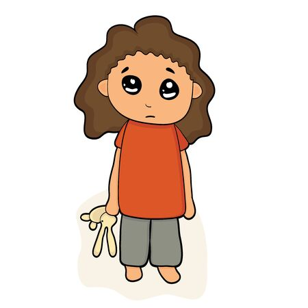 Depressed child looking lonely. Illustration of a sad child, helpless, bullying.