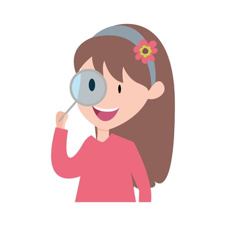 happy girl with magnifier. Vector Illustration Of Kid Using Magnifier. Illustration happy student.
